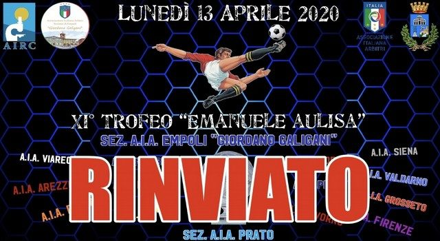 "RINVIATO L'XI° TROFEO ""EMANUELE AULISA"" 2020"